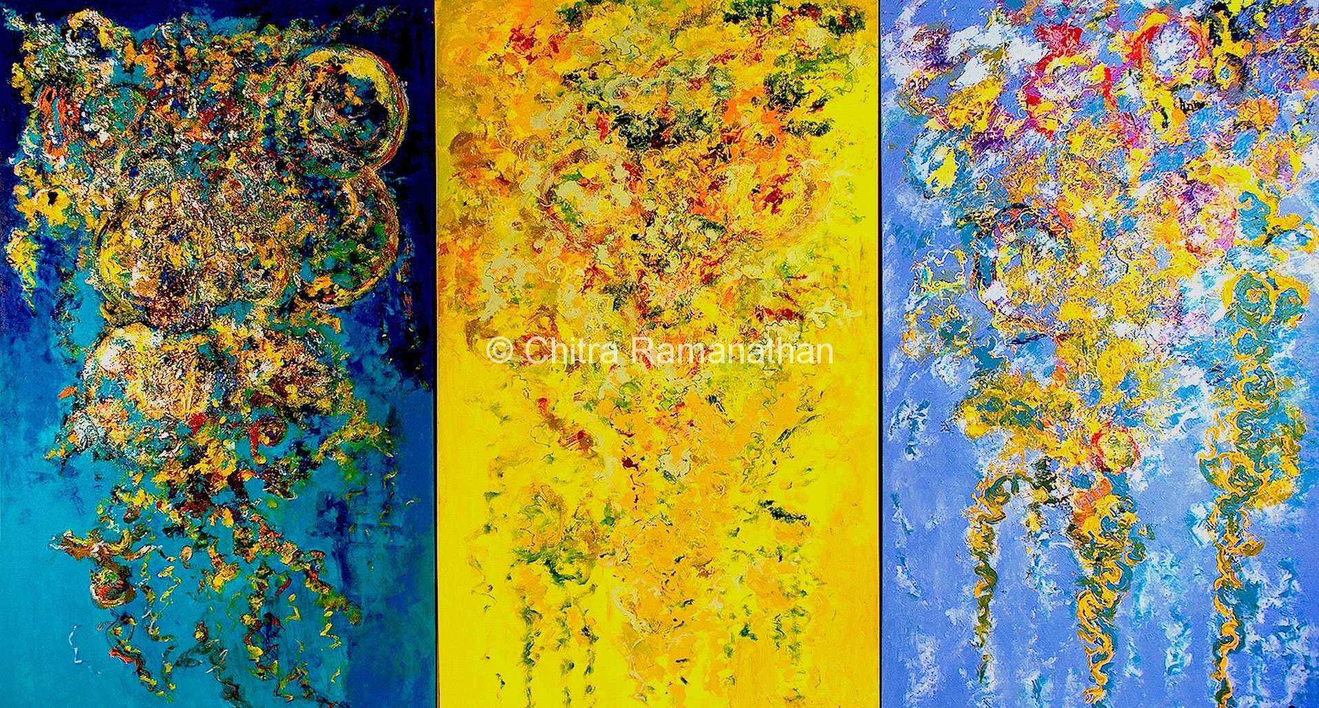 """""""Joyful musings (L), """"Celebration"""" (C) and """"Melodious Waves"""" (R)"""