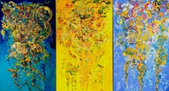 """Joyful musings (L), ""Celebration"" (C) and ""Melodious Waves"" (R)"
